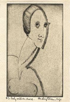 """Lady with an Aura,"" Etching, circa Moving To San Francisco, Harlem Renaissance, Various Artists, Bauhaus, Sculpting, Art Deco, Fine Art, American, Lady"