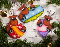 Reindeer Ornaments by Lori Cagle - Decorative Painting Patterns from ArtistsClub.com