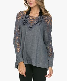 Another great find on #zulily! Blue Crochet Boatneck Sweater #zulilyfinds