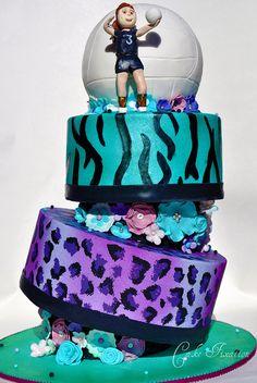 Volleyball Topsy Turvy Cake by Stephanie (Cake Fixation), via Flickr