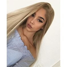 """Musegetes 24"""" Long Natural Blonde Ombre Straight Synthetic Lace Front... (€51) ❤ liked on Polyvore featuring beauty products, haircare and hair styling tools"""