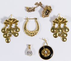 Lot 312: 14k Gold Jewelry Assortment; Five pieces including a pair of pierced earrings, a single pierced earring, a pendant having a pear cut aqua marine, a pin having seed pearls and a cross, skull and cross bones design (possibly fraternal); together with a damaged 14k gold pendant having a central pearl surrounded by enamel