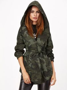 Olive Green Camo Print Hooded Shawl Collar Wrap Jacket Camo Hoodie 430a269412d