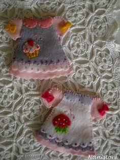 Tiny felt dresses