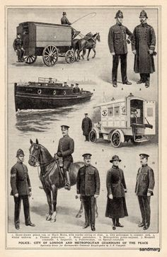 City of London Chart  British Policemen and Woman In Uniform 1921 Print