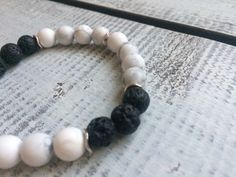 Items similar to Howlite and lava stone diffuser bracelet on Etsy Stone Beads, Natural Gemstones, Lava, Barefoot, Diffuser, Im Not Perfect, Beaded Bracelets, Etsy, Jewelry