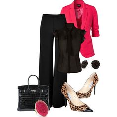A fashion look from October 2012 featuring black shirt, pink jacket and Donna Karan. Browse and shop related looks.