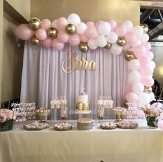 Baby Pink White and Gold Silver Balloon Garland, Balloon Garland Kit, Bridal Shower, Anniversar Baby Shower Table Set Up, Baby Girl Shower Themes, Girl Baby Shower Decorations, Baby Shower Princess, Baby Shower For Girls, Shower Baby, Pink Princess Party, Baby Shower Backdrop, Princess Dresses