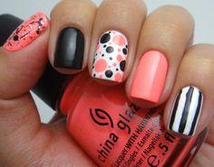 Nail design - peachy coral, black and white