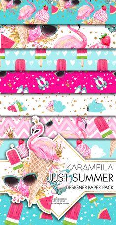 Summer Digital Paper Flamingo Ice-Cream Beach Fashion Illustrations Seamless Patterns Watermelon Backgrounds by Karamfila Siderova Planner Stickers Supplies