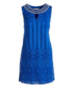 Royal Blue Lace-Accent Shift Dress #zulily #zulilyfinds