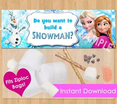 Disney Frozen Favor Bag Toppers - INSTANT DOWNLOAD Do You Want To Build A Snowman Frozen Birthday Printable matches Invitation Olaf Treat