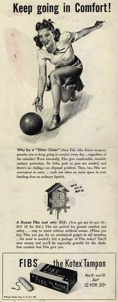 """""""No chafing!"""" No mechanical gadget to aid insertion (because none is needed). Imagine writing ad copy for Fibs tampons. You have to extol their virtues, without catchy slogans like """"when the red tide rises, Fibs surprises!"""""""