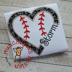 Baseball Heart For Name Applique - 4 Sizes!   What's New   Machine Embroidery Designs   SWAKembroidery.com Munchkyms Design