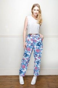 Vintage high waisted rose print trousers - Trousers - Womens Vintage | Retro & Vintage Clothes UK