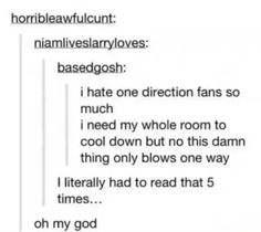 I hate one direction fans so much... XD ba dum tss..still hate one direction though