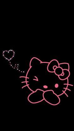 Hello Kitty Pink And Wallpaper Image Black Hello Kitty Hello