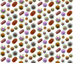 VIRUSES white fabric by kightleys on Spoonflower - custom fabric