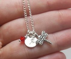 Dragonfly Pendant, Dragonfly Necklace, Initial Necklace, Little Girl Necklace, Hand Stamped Initial Necklace, Sterling Silver Disc