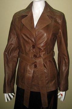 Long leather jacket casual wear retro style 676  $249.99