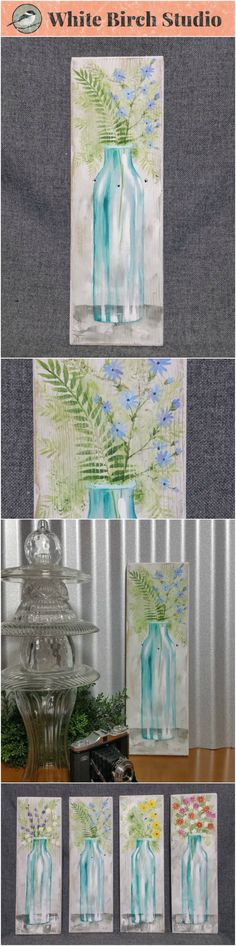 "Spring Flowers, wildflower painting, Farmhouse decor, Pallet wall art, White washed reclaimed wood, Hand painted flowers, blue glass vase, fern  Original Acrylic painting on reclaimed white-washed board measuring 17"" wall by 5 1/2""  Are you ready for a TOUCH of Spring artwork for your home? These fun pieces can be added to any decor to give it a unique, shabby, farmhouse update. Each piece is hand painted for you and sanded for an aged appearance."