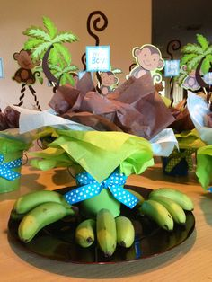 Babyshower centerpiece for boy monkey theme    LYNETTES BABYSHOWER