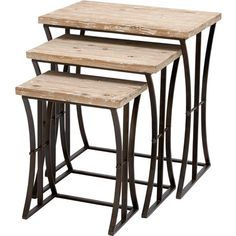 Set of 3 nesting tables with cinched metal bases and natural wood tops.  Product: Small, medium, and large nesting table...