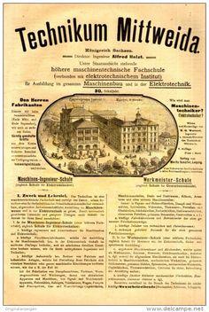 Original-Werbung / FALT - PROSPEKT 1897 : 4-Seiter - TECHNIKUM MITTWEIDA - je ca. 160 x 260 mm