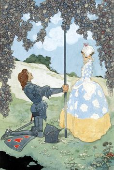 """""""The knight and his maid"""", frontispiece to Rose Fyleman's """"A Garland of Roses"""" by René Bull, ca. 1928."""