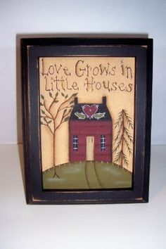 Primitive Saltbox Canvas Handpainted Sampler by Primgal on Etsy, $13.95