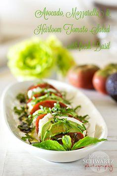 Avocado, Mozzarella & Heirloom Tomato Salad with Basil & Balsamic Vinaigrette - original post: http://www.foodjourney.co/2013/08/02/avocado-mozzarella-heirloom-tomato-salad-with-basil-balsamic-vinaigrette/