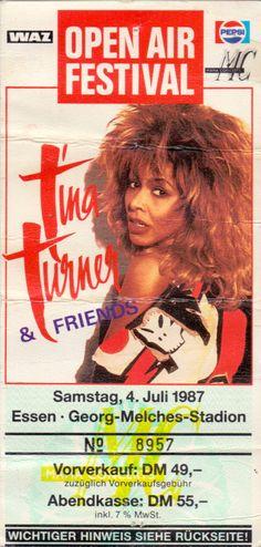 Tina Turner Ticket – Originalticket des Open Air Festivals vom 04. Juli 1987 im Georg-Melches-Stadion in Essen. www.starcollector.de