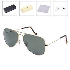 22feaefd698 OLet Large Polarized Aviator Sunglasses for WomenMen CyclingFishing with  Glass Polarized Lens 62mm -- Learn more by visiting the image link.