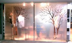 Etched Window— Considering a similar idea for large glass patio doors.