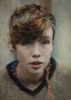 """Ella"" - Luca Indraccolo {contemporary figurative art beautiful female head brunette woman face portrait painting #loveart} <3 luca.indraccolo.com"