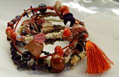 Semainier bohème et primitif, tribal, très coloré - camaïeu beige, vieux rose et lilas - le jumeau (ou presque) : Bracelet par ash