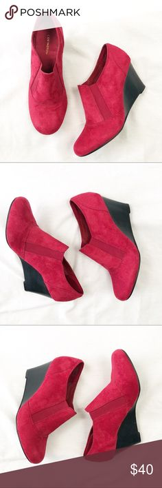 Covington Red Wedge Ankle Booties Size 10 I die every time I look at these wedges. My feet need to grow so I can just keep them. They're in excellent preowned condition and basically the only signs of wear are on the bottom.   Size 10.   No trades, offers welcome. Covington Shoes Ankle Boots & Booties