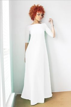 Hey, I found this really awesome Etsy listing at https://www.etsy.com/listing/189468992/all-white-34-sleeve-maxi-dress