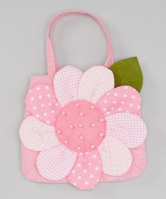 A beautiful flower blooms across this pretty-in-pink bag, and a roomy interior leaves plenty of space for a little darling to toss in and tote her everyday essentials. Patchwork Bags, Quilted Bag, Bag Patterns To Sew, Sewing Patterns, Sewing Crafts, Sewing Projects, Embroidery Bags, Fabric Bags, Girls Bags