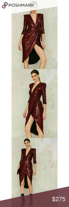 "Zhivago Kinsey Wrap Dress Fully lined with padded shoulders and burgundy sequins.  Plunging neckline.  Sexy as all get out.    ""Founded by longtime friends Lara Kovacevich and Lydia Tsvetnenko in 2012, Zhivago means ""daring"" in Russian - and their design aesthetic is nothing short of that. The Australian brand is rapidly building a reputation for their signature fusion of impeccably tailored ready-to-wear, avant-garde separates, and show-stopping red carpet gowns."" Zhivago  Dresses High Low"