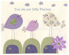 baby girl nursery purple - wall art mommy and daddy birds