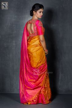 Beautiful saree pink n golden