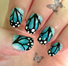 Blue Butterfly Wing Nails