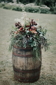 Wine barrels with lush florals as a dramatic entrance for the ceremony aisle<br> Diy Wedding Flower Centerpieces, Diy Wedding Flowers, Wedding Arrangements, Flower Decorations, Floral Wedding, Flower Arrangements, Rustic Wedding, Wedding Decorations, Wedding Ideas