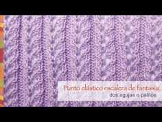 Punto elástico escalera de fantasía tejido en dos agujas o palitos - YouTube Different Patterns, Le Point, Stitches, Tube, Knit Patterns, Ladies Capes, Tricot, Comics, Fabric Samples