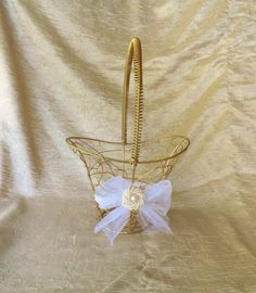 Gold Wire Pearl Basket Flower Girl Basket Shabby by CasitaDeLita