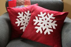 Snowflake pillows will melt beautifully into your Christmas and winter decor. (Noodlehead)