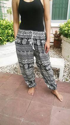 Black Elephants Printed Yoga Pants Hippie by TribalSpiritShop