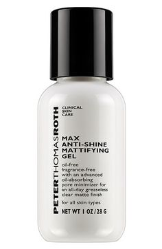 Peter Thomas Roth Anti-Shine Mattifying Gel.  The perfect primer to use for a face that just won't stop shining ! A little goes a long way with this silicone based primer too. Keeps your skin velvety smooth and matte without drying or clogging pores. GREAT PRODUCT, I HIGHLY RECCOMEND :D
