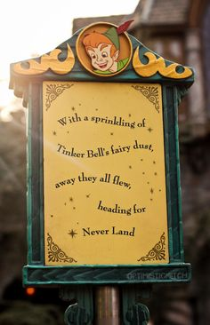 With a sprinkling of Tinker Bell's fairy dust, away they all flew, heading for Never Land.